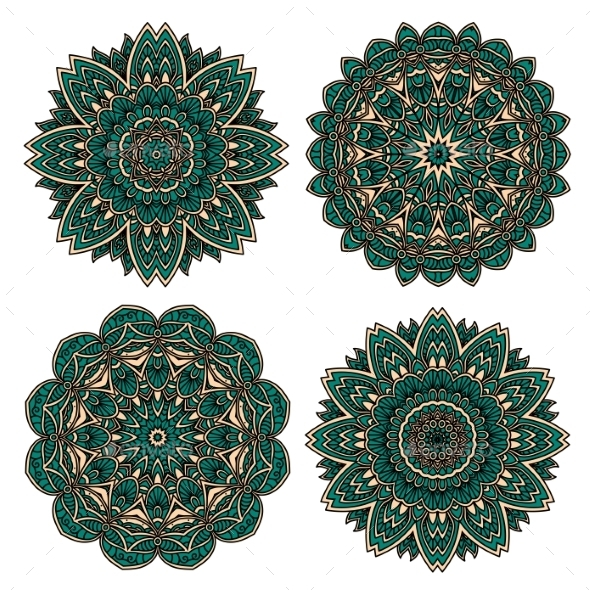 Lace Floral Pattern With Emerald Flower Petals - Flourishes / Swirls Decorative