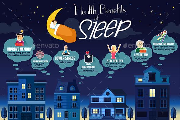Health Benefits of Sleep Infographic - Conceptual Vectors