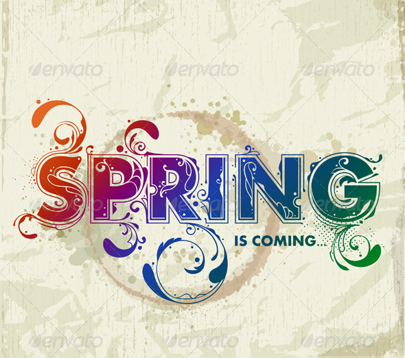 Hand drawn spring lettering - Vectors