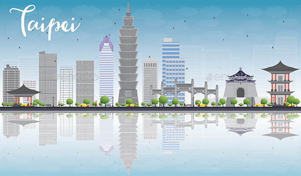Taipei Skyline with Gray Landmarks - Buildings Objects