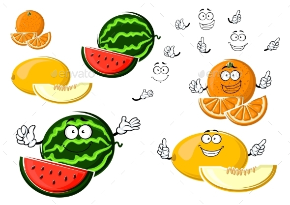 Ripe Melon, Orange And Watermelon Fruits  - Food Objects