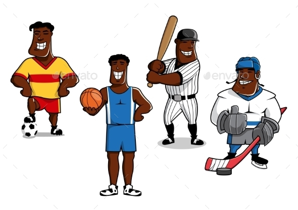 Cartoon Sport Game Professional Players - Sports/Activity Conceptual
