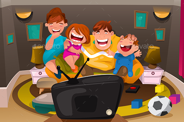 Family Watching Television - People Characters