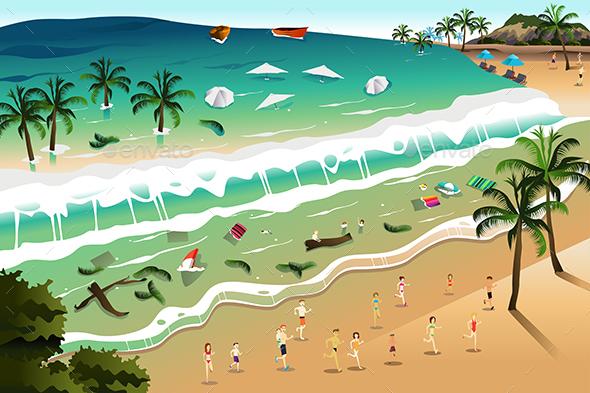 Scene of Tsunami - Nature Conceptual