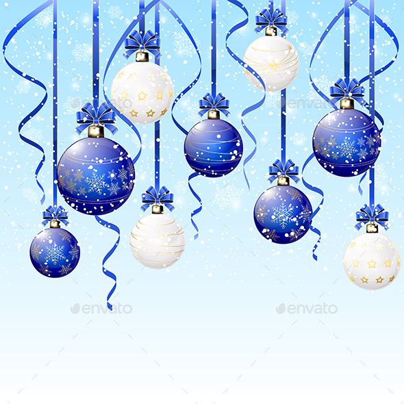 Blue and White Christmas Balls on Snowy Background by losw ...