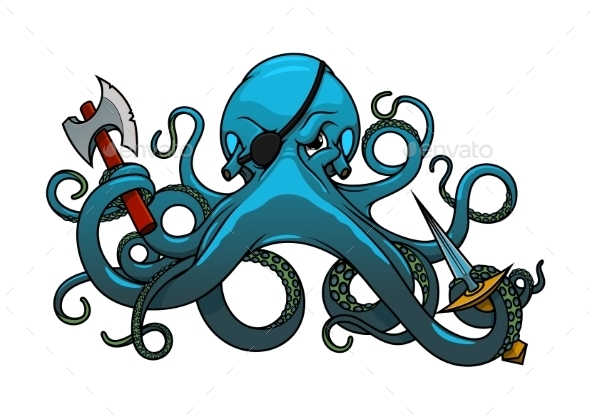 Cartoon Octopus Pirate With Axe And Sword - Animals Characters