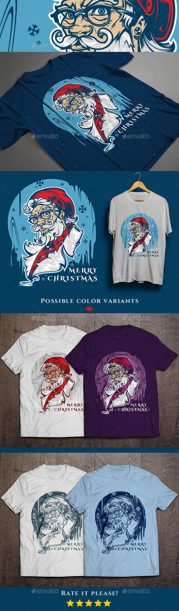 Santa Hipster T-shirt design - Events T-Shirts