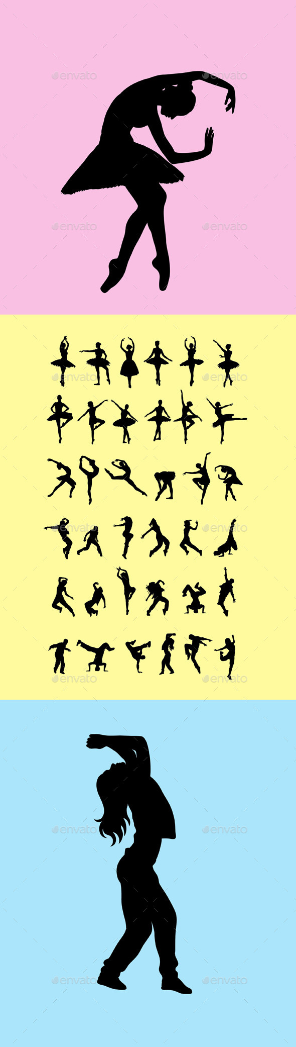 Ballerina and Hip Hop Silhouettes - People Characters