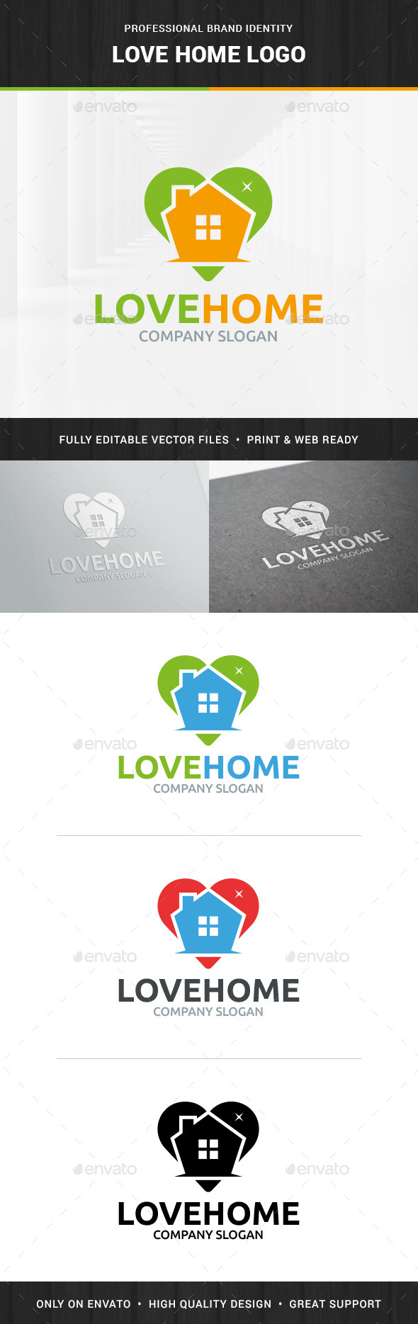 Love Home Logo Template - Buildings Logo Templates