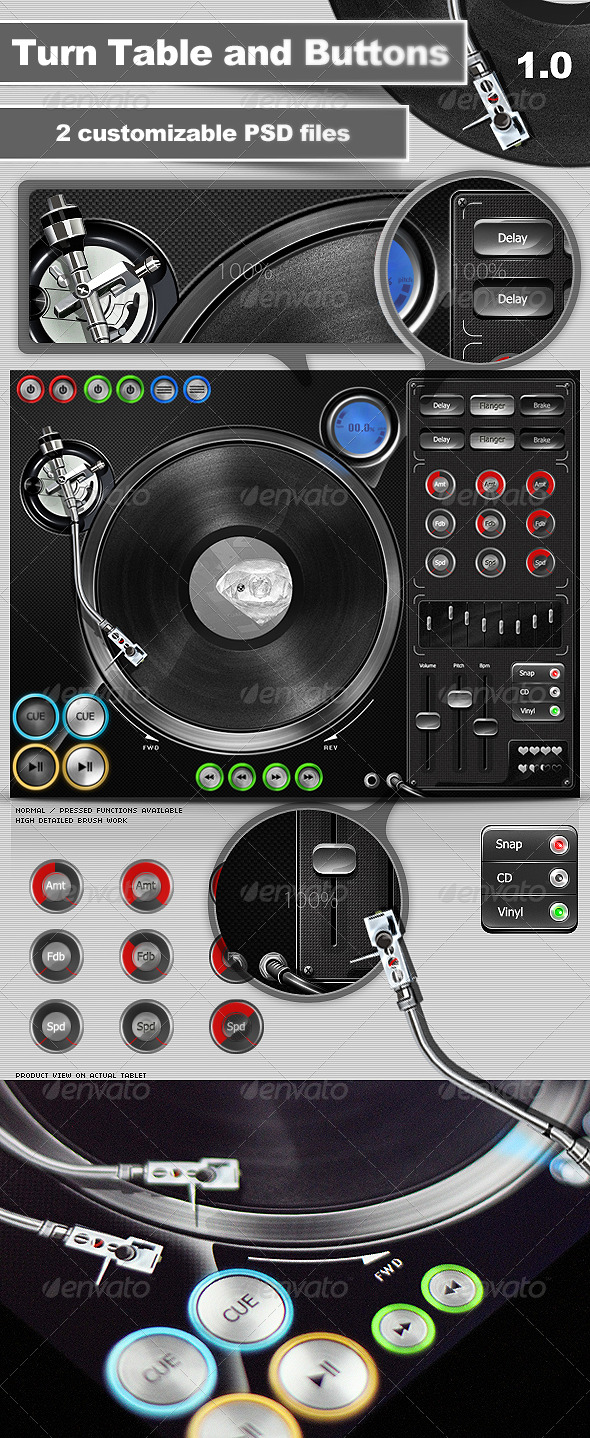 Turntable and Buttons - User Interfaces Web Elements