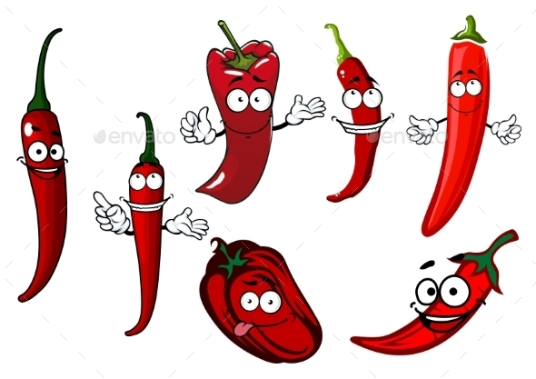 Cartoon Red Chilli And Bell Peppers Vegetables - Food Objects