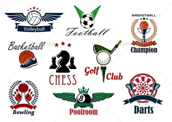 Sports Game Club And Team Heraldic Emblems - Sports/Activity Conceptual
