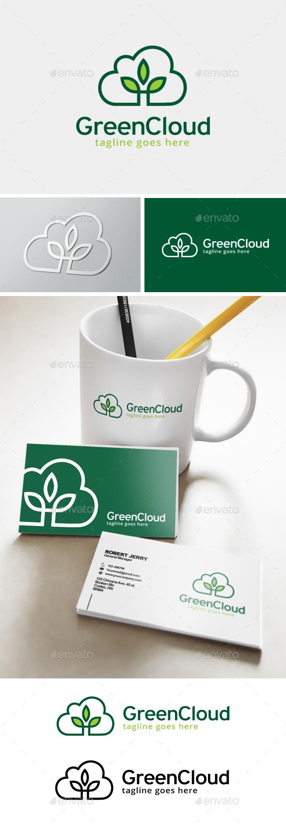 Green Cloud Logo - Nature Logo Templates