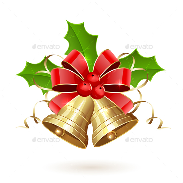 Christmas Bells with Bow and Holly Berry - Christmas Seasons/Holidays
