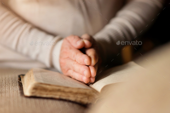Woman with bible - Stock Photo - Images