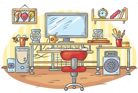 Workplace With a Computer Table - Miscellaneous Conceptual