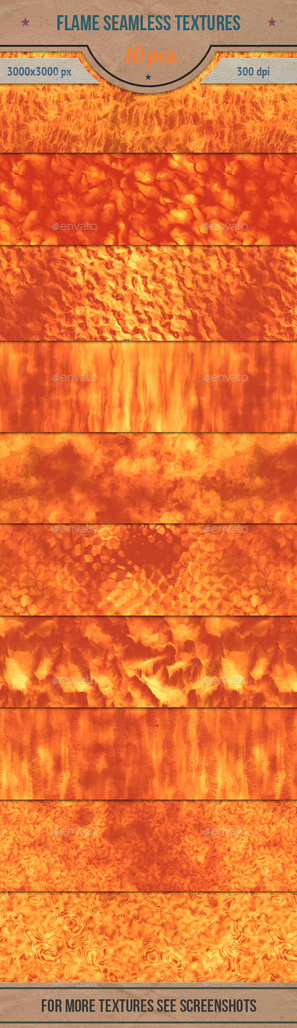 Flame and Fire Seamless Textures Pack - Abstract Textures