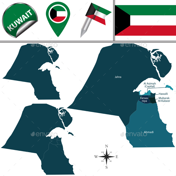 Map of Kuwait - Travel Conceptual