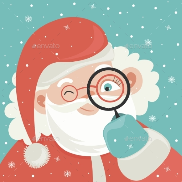 Portrait Of Santa Claus With Magnifying Glass - Christmas Seasons/Holidays