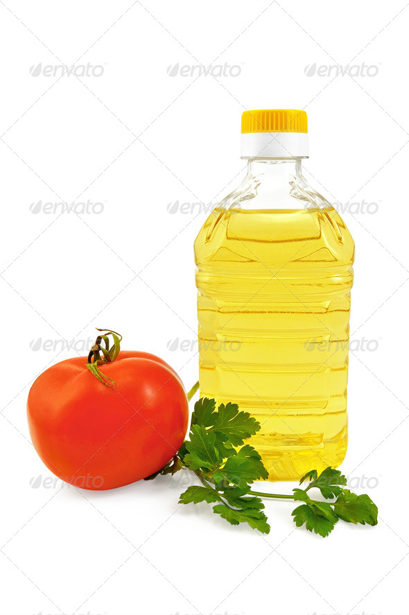 Vegetable oil with parsley and tomato - Stock Photo - Images