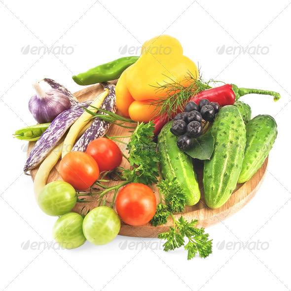 Vegetables on a round board - Stock Photo - Images