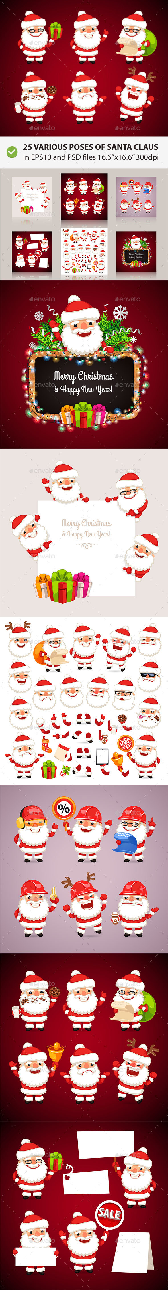 Set of Cartoon Santa Clauses - Christmas Seasons/Holidays