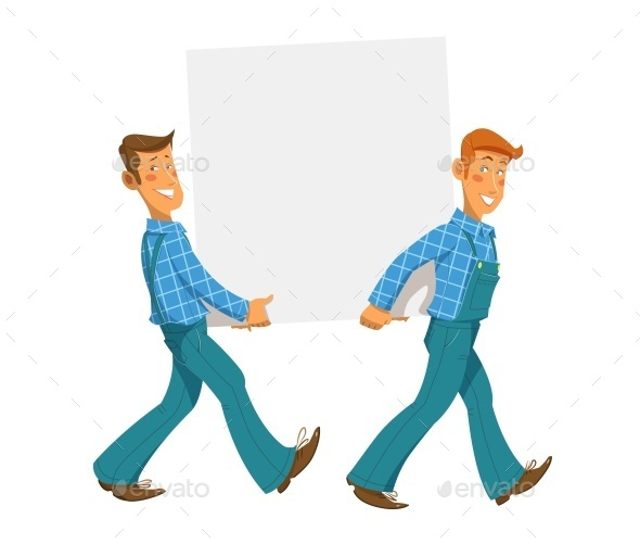 Two Mans Carry Empty Plate - Characters Vectors
