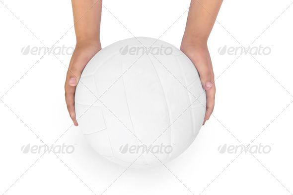Volleyball in the hands of - Stock Photo - Images