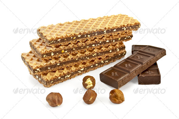 Waffles with chocolate and nuts - Stock Photo - Images
