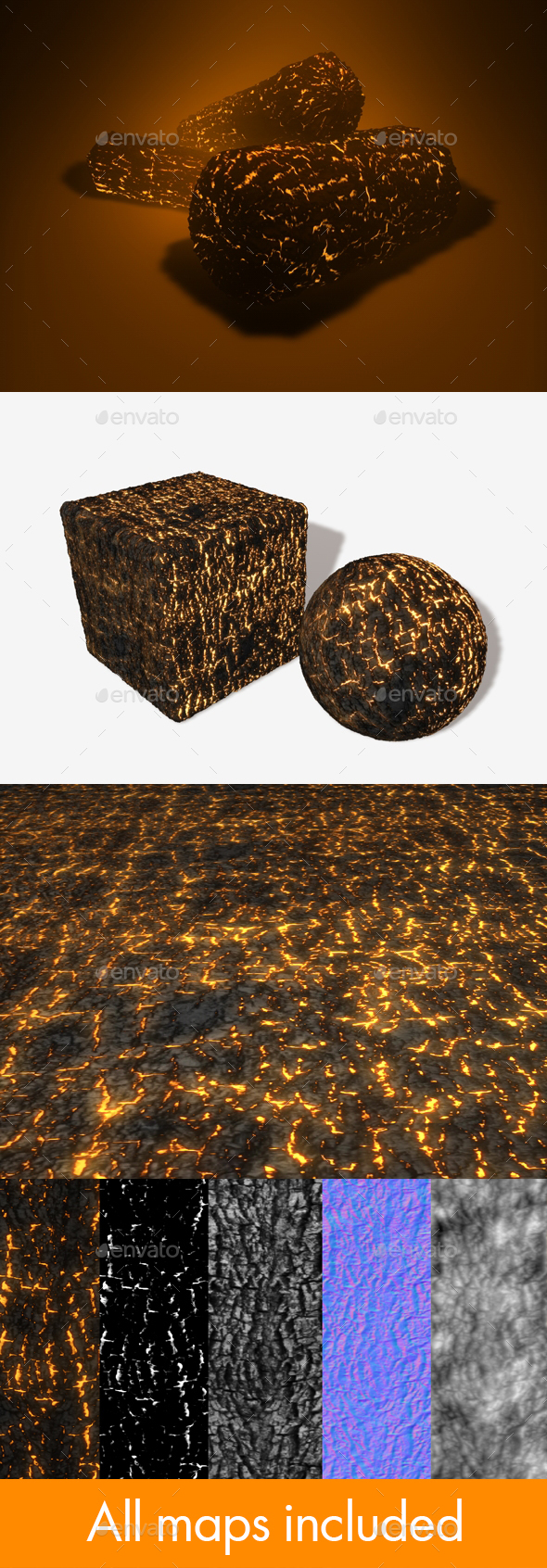 Burning Logs Seamless Texture - 3DOcean Item for Sale
