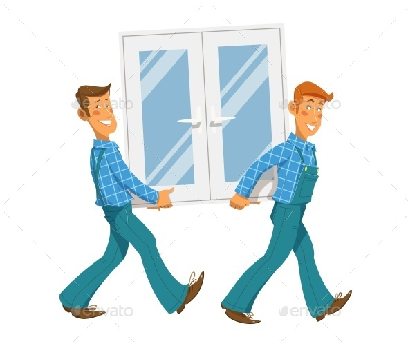 Two Mans Carry Window - People Characters