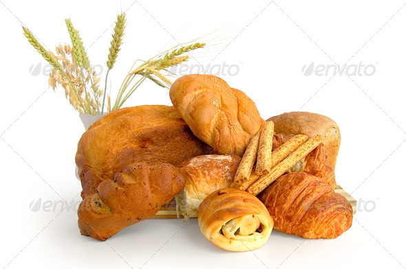 White bread rolls with different - Stock Photo - Images