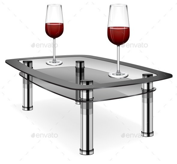 Wine Glasses on Table - Food Objects