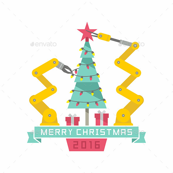 Robot and Christmas Tree - Vectors