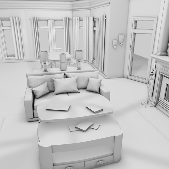 3d interior house - 3DOcean Item for Sale