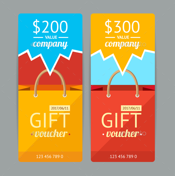 Modern Gift Voucher with Paper Bag. Vector - Business Conceptual
