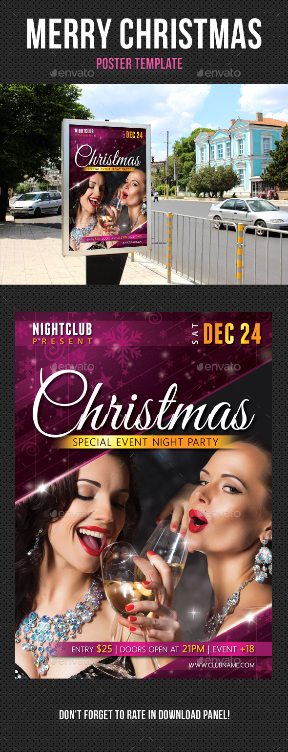 Christmas Party Poster Template - Signage Print Templates
