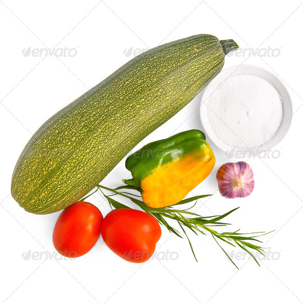 Zucchini with vegetables and salt - Stock Photo - Images