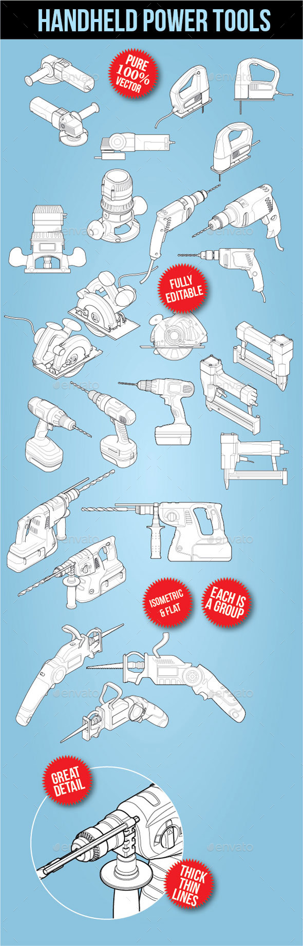 Handle Power tools - Isometric - Man-made Objects Objects