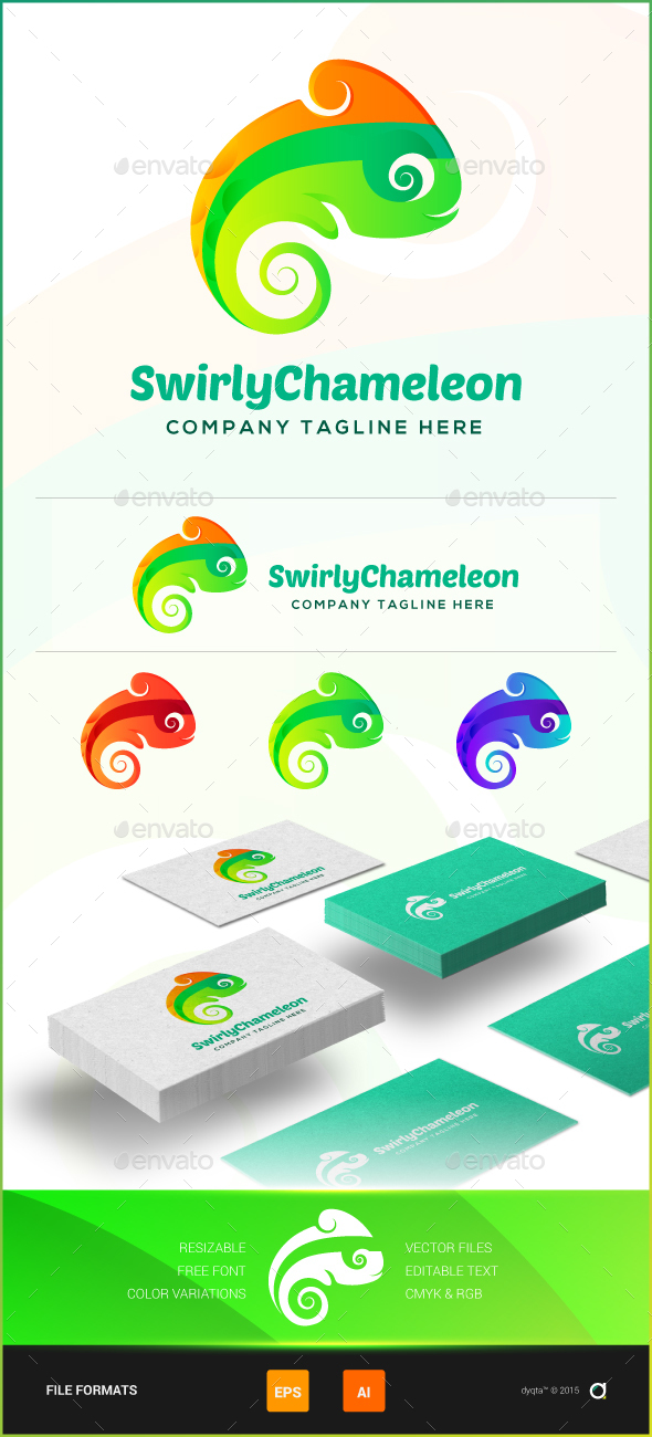 Swirly Chameleon Logo Template - Animals Logo Templates