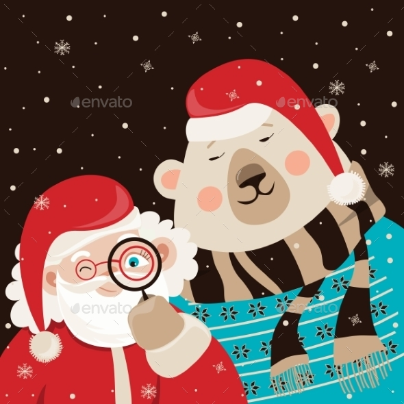 Santa Claus with Polar Bear - Christmas Seasons/Holidays