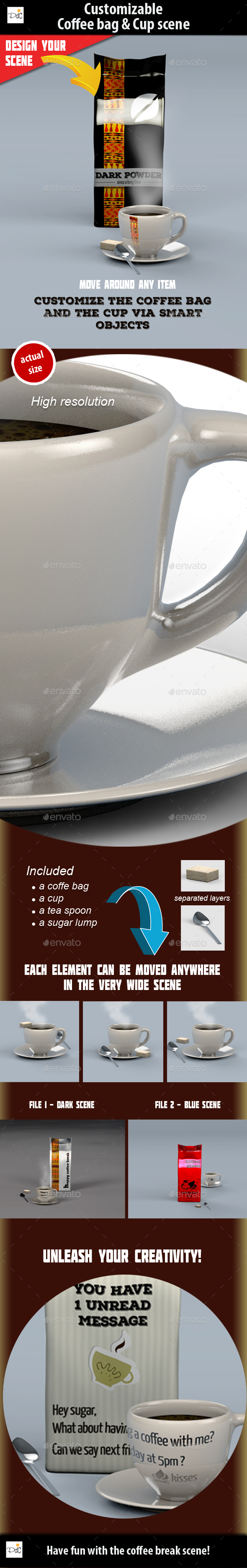 Coffee bag & cup mock-up - Product Mock-Ups Graphics