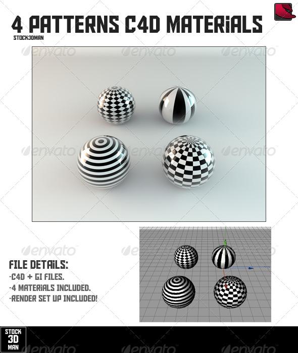 4 Patterns Cinema 4D Materials - 3DOcean Item for Sale