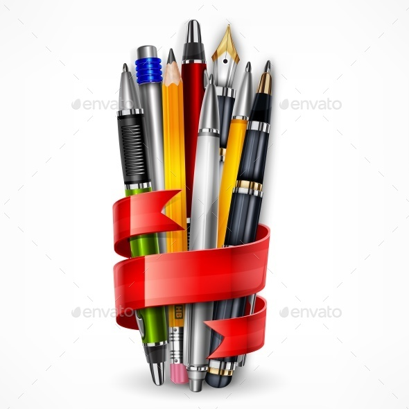 Pencils and Pens with Ribbon - Food Objects