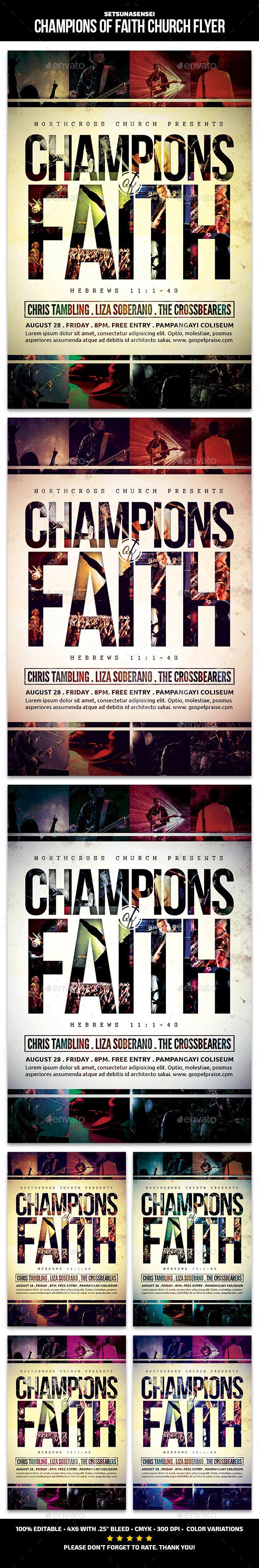 Champions of Faith Church Flyer - Church Flyers