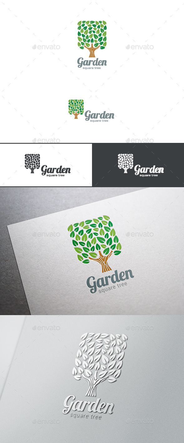 Green Tree Logo Square Shape - Nature Logo Templates