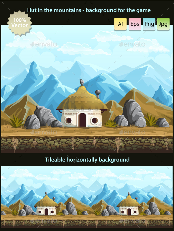 Hut in the mountains - seamless background - Backgrounds Game Assets