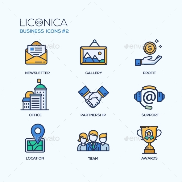 Set of Modern Office Thin Line Flat Design Icons - Concepts Business