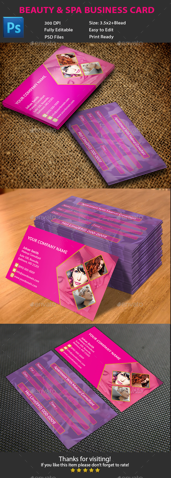 Beauty & Spa Business Card - Corporate Business Cards