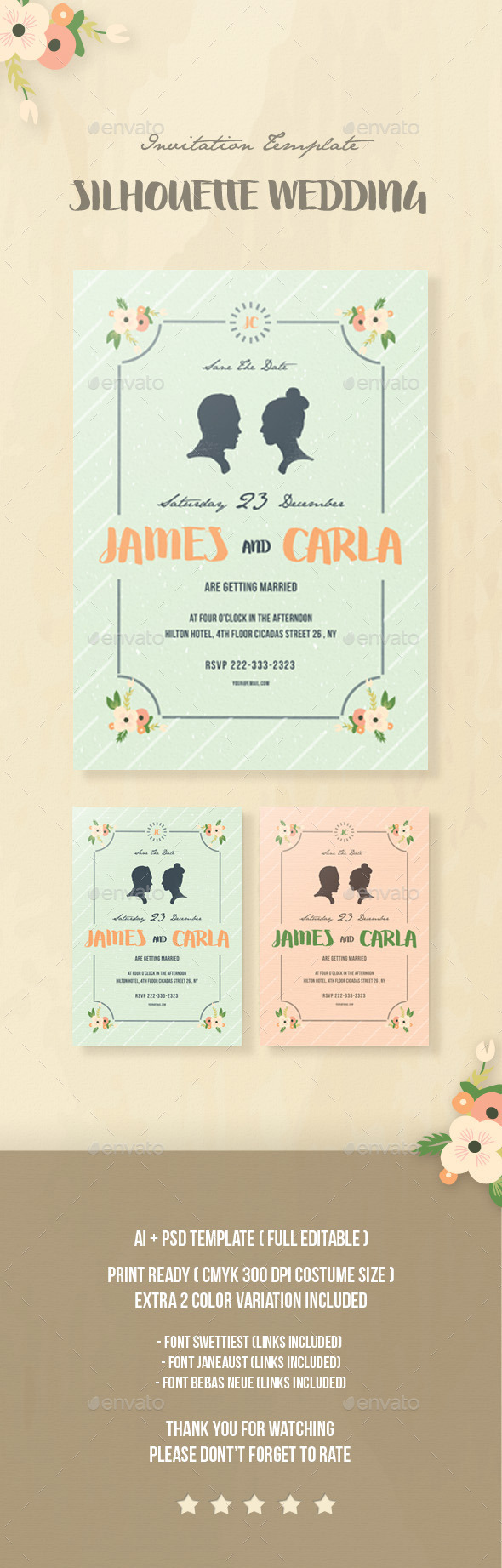 Silhouette Wedding Invitation - Invitations Cards & Invites